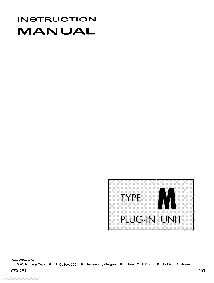TEKTRONIX TYPE-M PLUG-IN INSTRUCTION SCH Service Manual