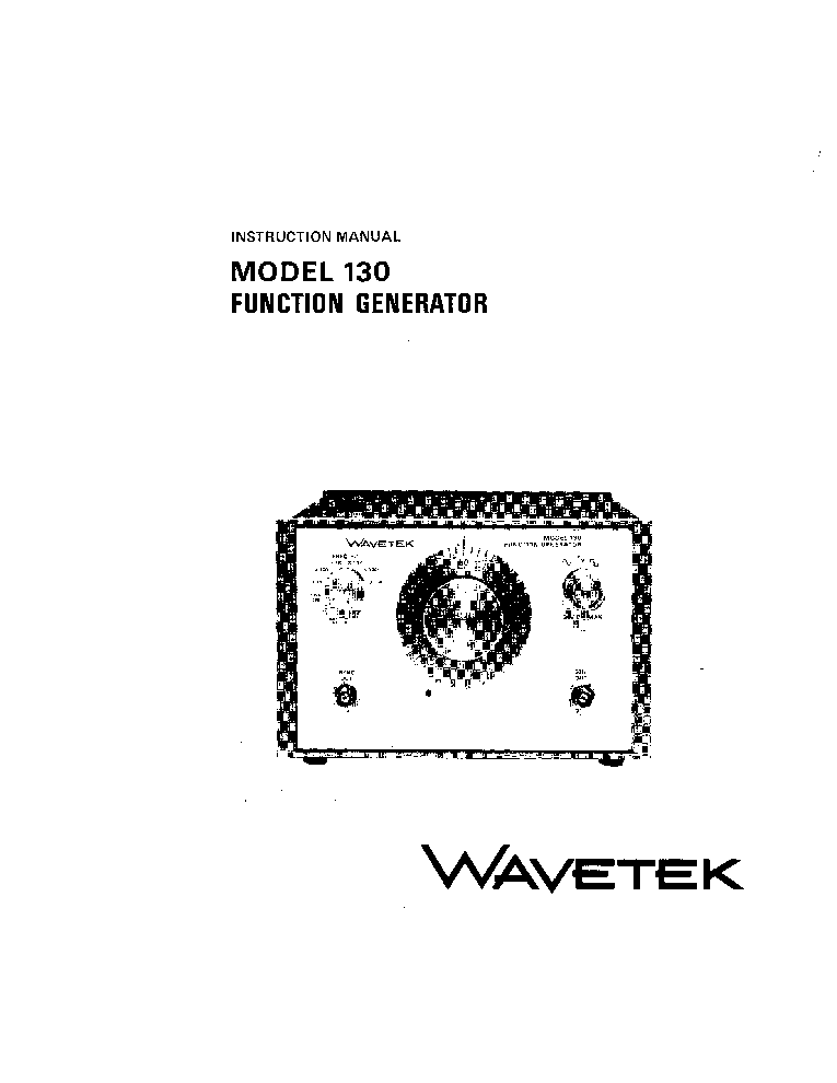 WAVETEK 130 FUNCTION-GENERATOR INSTRUCTION SCH Service