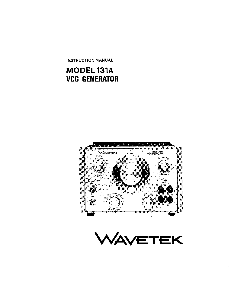 WAVETEK 131A VCG-GENERATOR INSTRUCTION SCH Service Manual