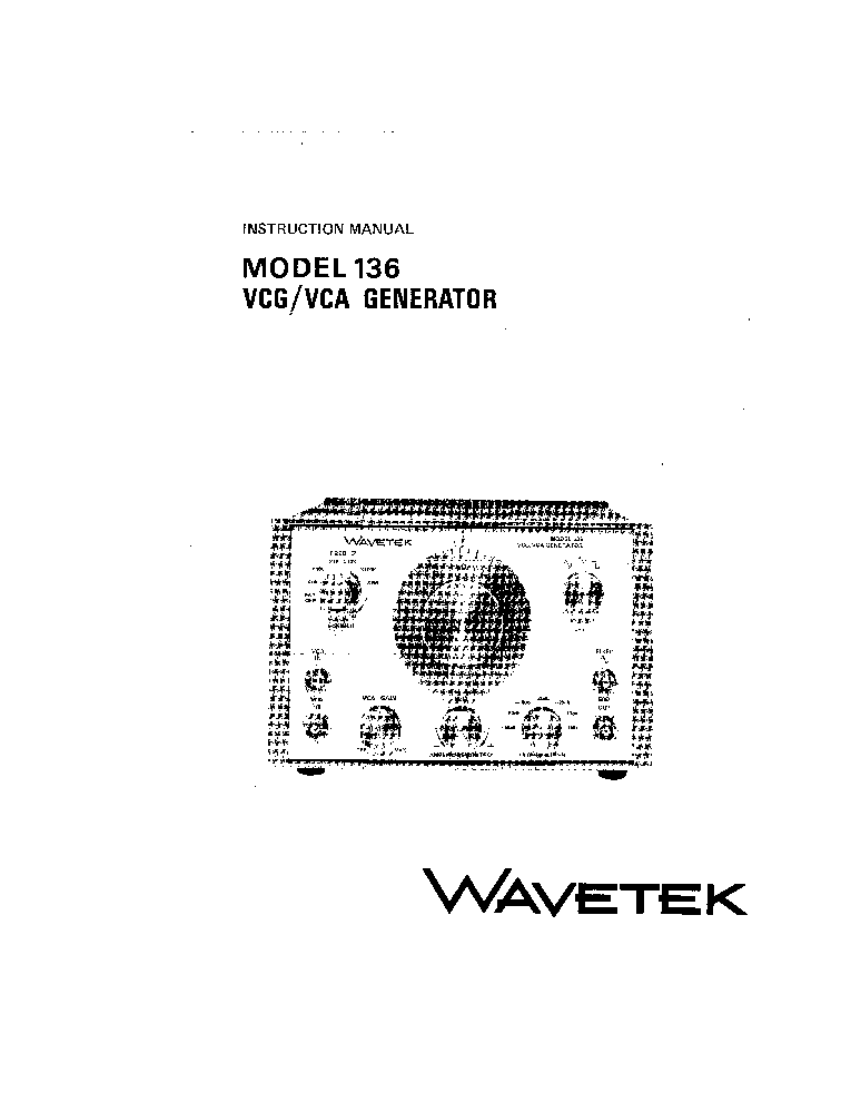 WAVETEK 180 180LF SWEEP AND FUNCTION GENERATOR Service