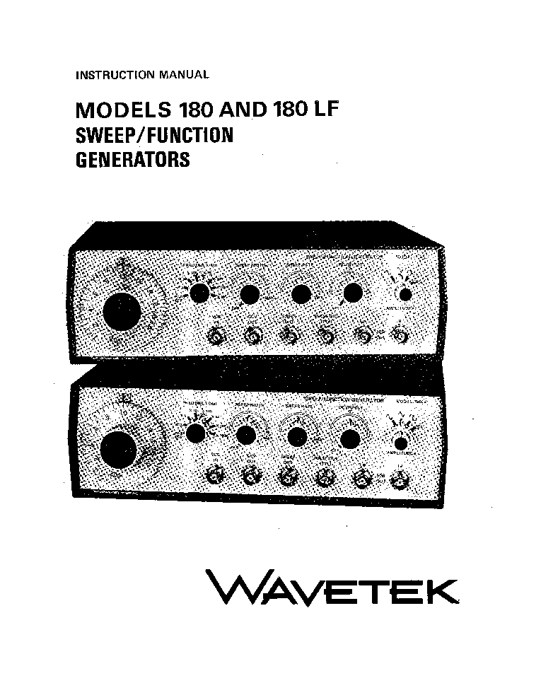WAVETEK 180 180LF SWEEP AND FUNCTION GENERATOR Service