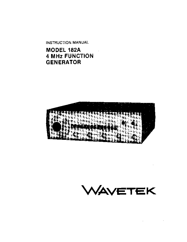 WAVETEK 182A FUNCTION-GENERATOR INSTRUCTION SCH Service
