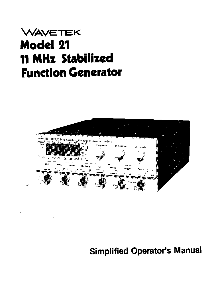 WAVETEK 182 2MHZ-FUNCTION GENERATOR SM Service Manual