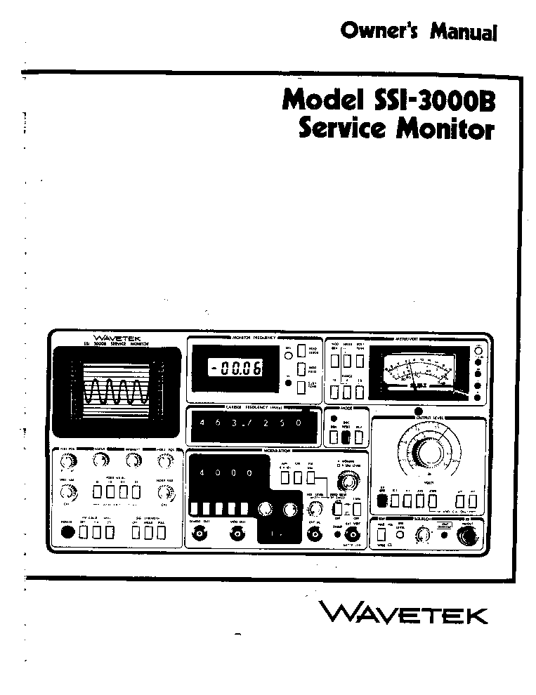 WAVETEK 3001 3002 SM Service Manual download, schematics