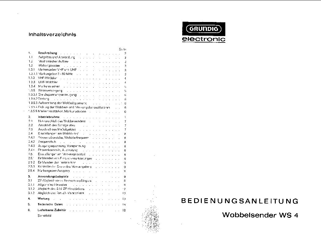 GRUNDIG BA WS 4 WOBBULATOR USERMANUAL Service Manual