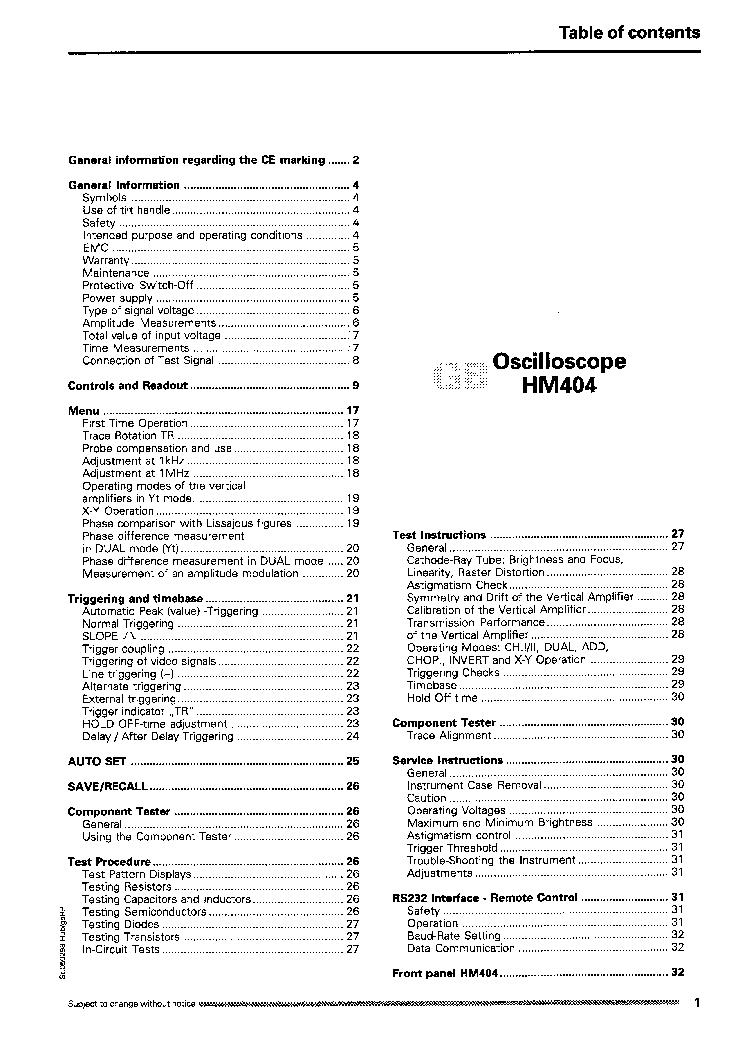 HAMEG HM404 OSCILLOSCOPE UM Service Manual download