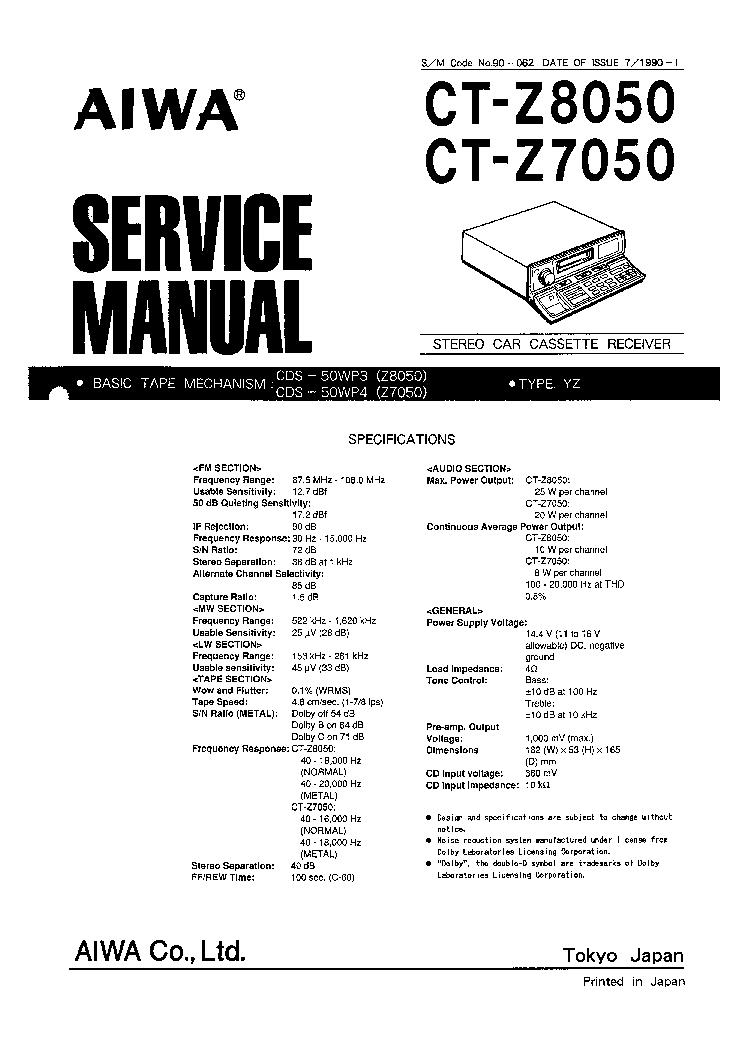 AIWA CT-Z8050,7050 SM Service Manual download, schematics