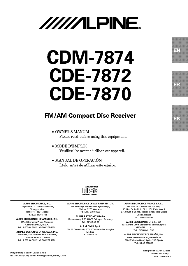 ALPINE CDE-7870 7872 CDM-7874 Service Manual download