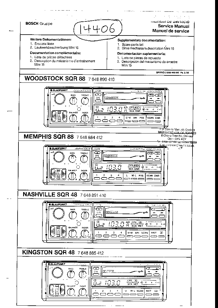 BLAUPUNKT SQR48 Service Manual download, schematics