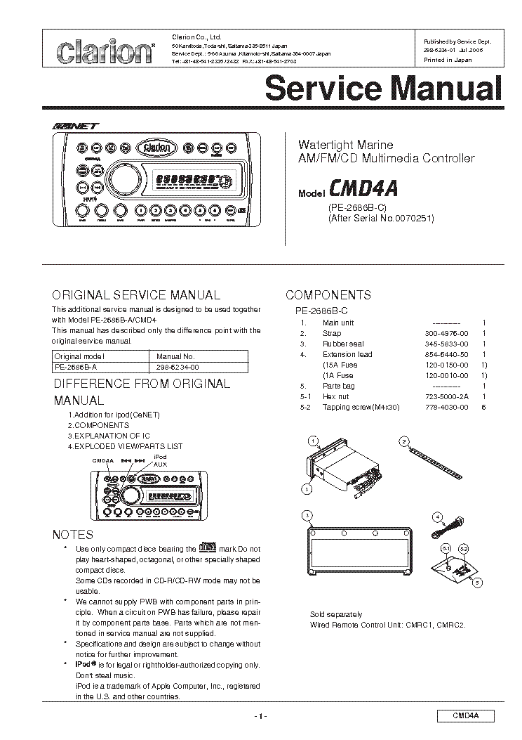 clarion_cmd4a_exploded_views_and_parts_list.pdf_1?resize=665%2C941&ssl=1 clarion vz400 wiring diagram clarion vz400 manual, hand brake clarion cmd4a wiring diagram at creativeand.co