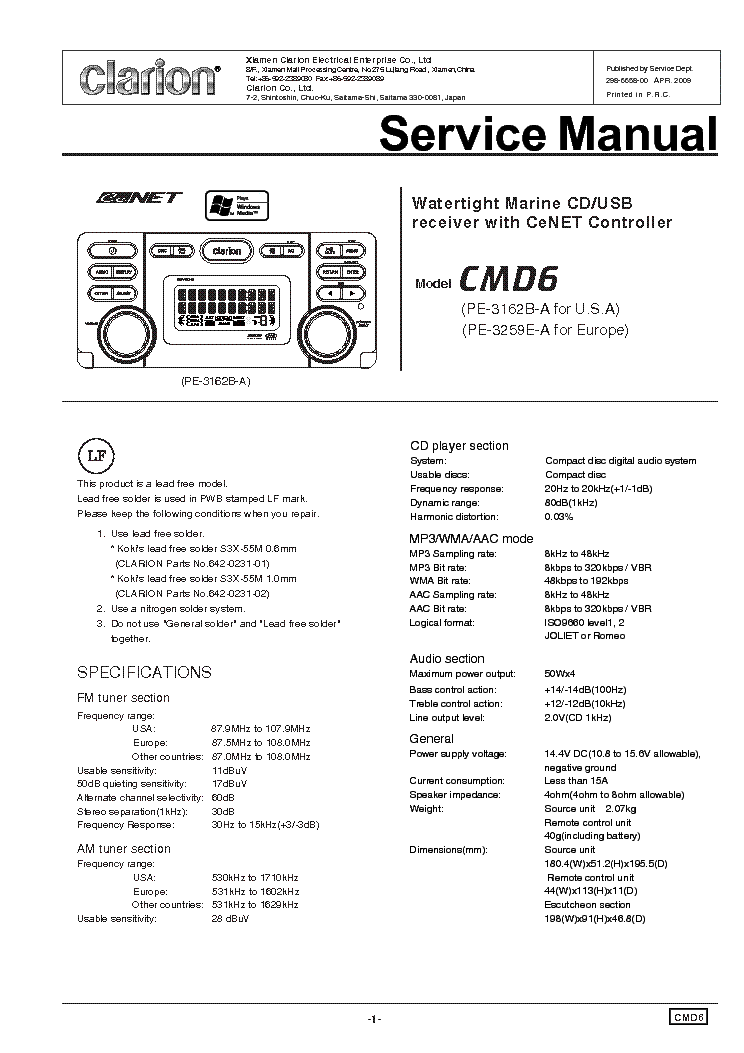 clarion_cmd6.pdf_1?resize\=665%2C941\&ssl\=1 clarion cmd6 wiring diagram 16 pin wiring diagrams clarion cz309 wiring diagram at edmiracle.co