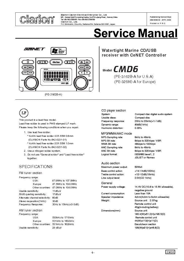 clarion_cmd6.pdf_1?resize\=665%2C941\&ssl\=1 clarion cmd6 wiring diagram 16 pin wiring diagrams clarion cz309 wiring diagram at bayanpartner.co