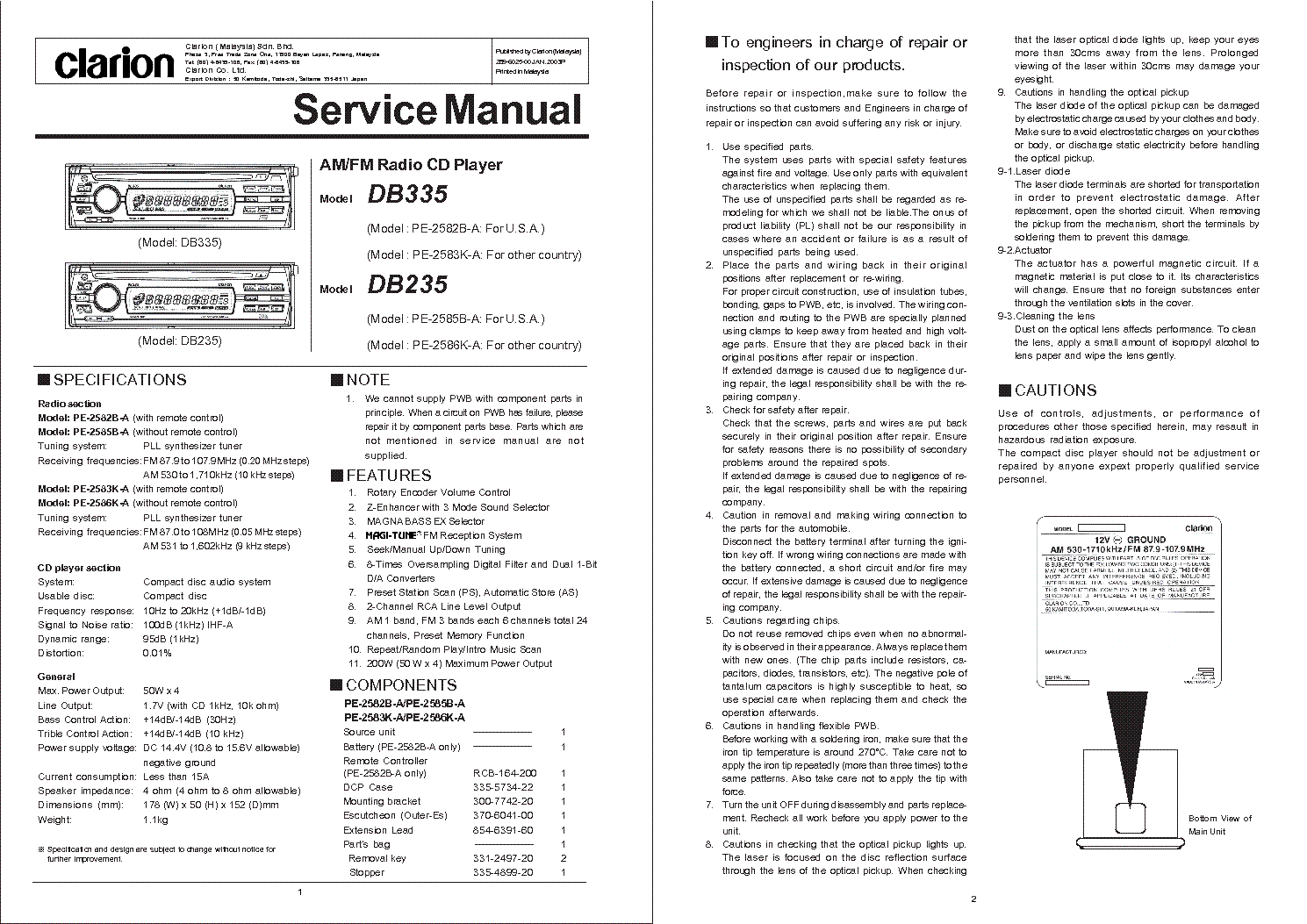clarion dxz375mp wiring diagram stewart warner water temp gauge db235 335 service manual download schematics