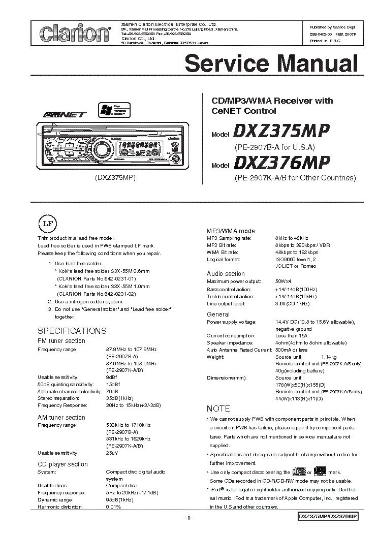 CLARION APX480M SCH Service Manual Download Schematics Eeprom