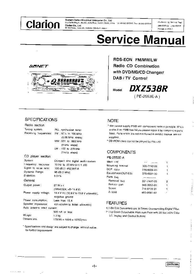 CLARION SRK5 Service Manual Download Schematics Eeprom Repair