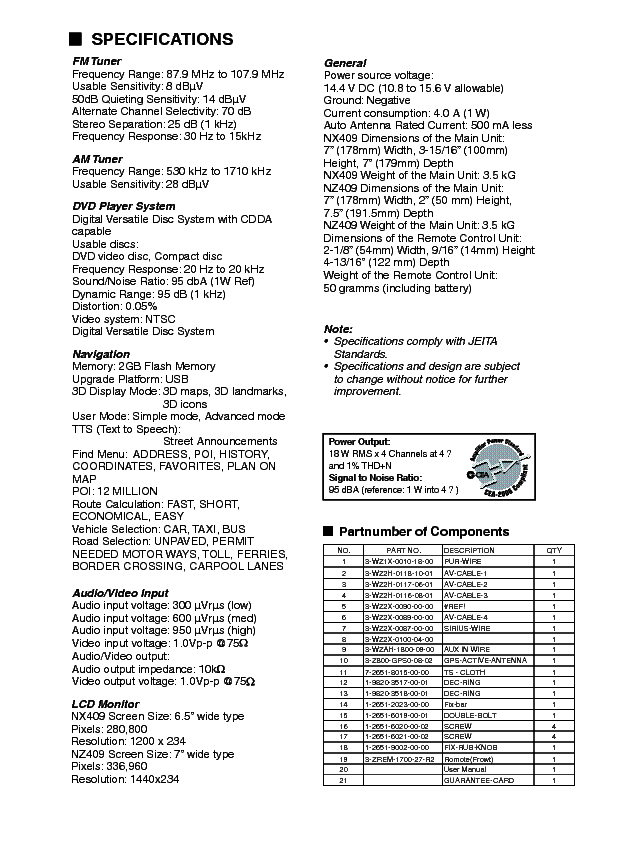 CLARION NX409 Service Manual download, schematics, eeprom