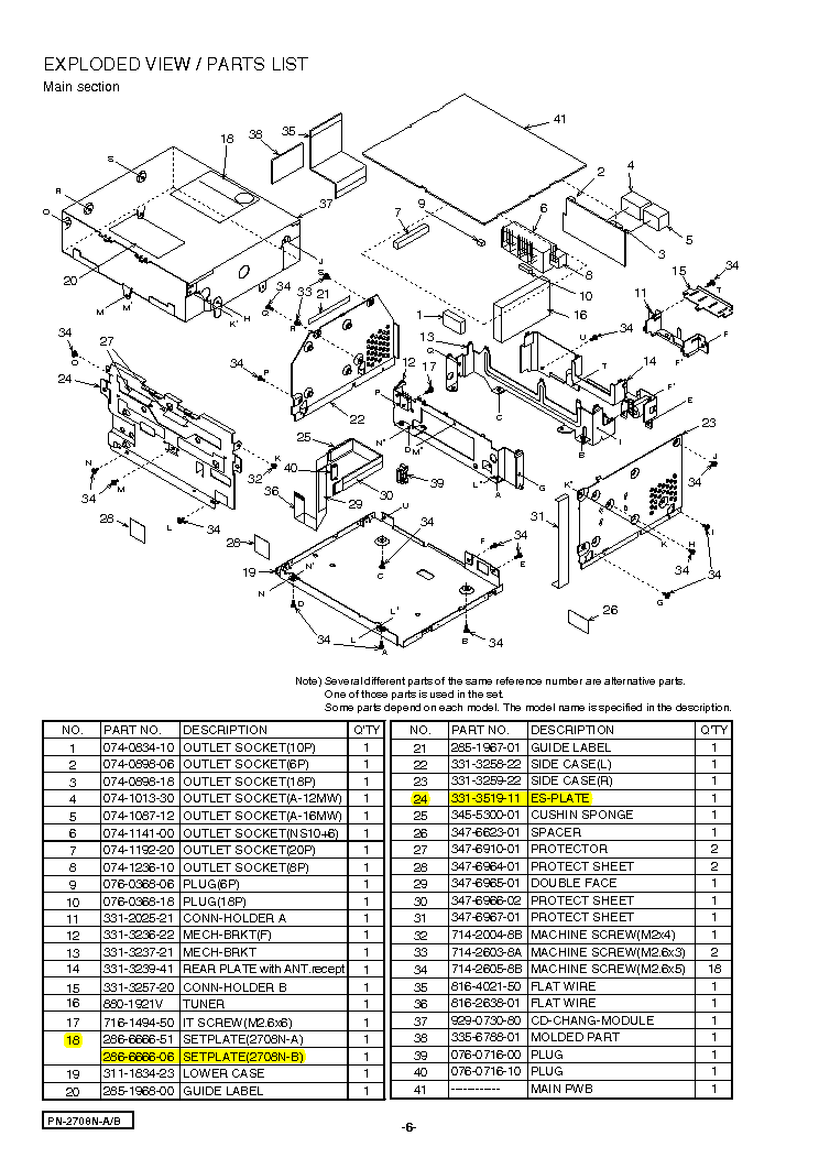 CLARION PN2708ND EXPLODED VIEWS Service Manual download