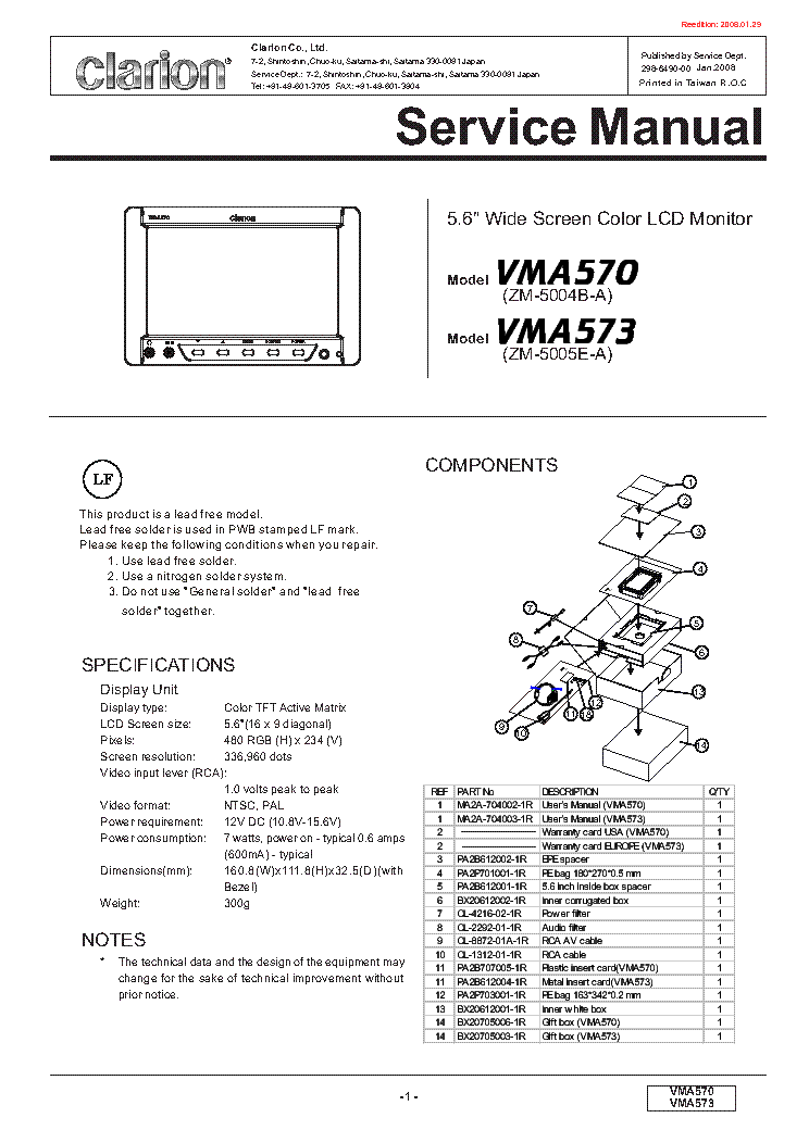 CLARION PN3000PA MA MB Service Manual download, schematics