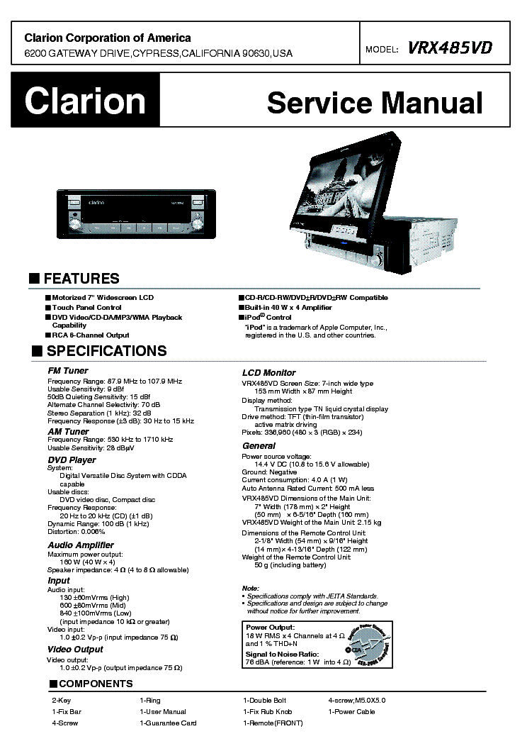 CLARION APA4160 Service Manual download, schematics