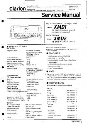 CLARION XMD1 XMD2 SM Service Manual download, schematics