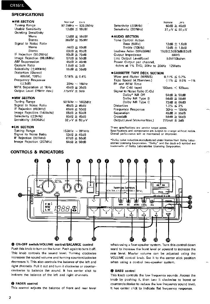 HARMAN-KARDON CR151L SM Service Manual download