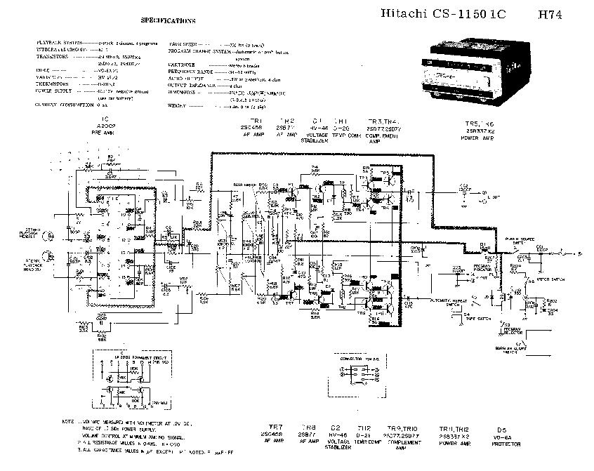 HITACHI CS-1150 8-TRACK-CASSETTE-PLAYER SCH Service Manual