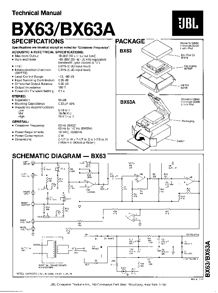 JBL BX-63 A AUTO HIFI 1992 SM Service Manual download