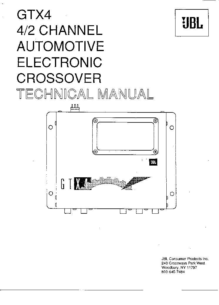 JBL ELECTRONIC CROSSOVER GTX4 Service Manual download