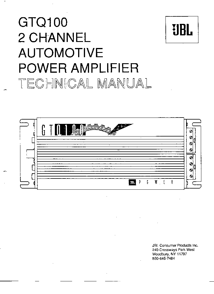 JBL GTQ100 SM Service Manual download, schematics, eeprom