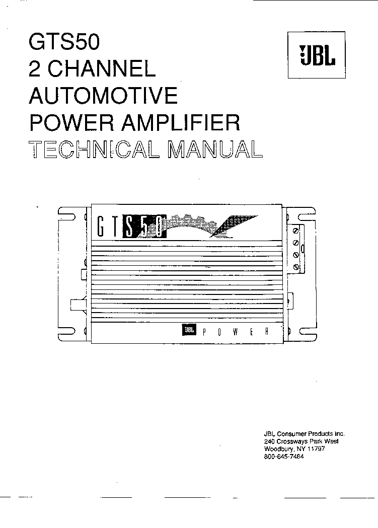 JBL POWER AMPLIFIER GTS50 Service Manual download