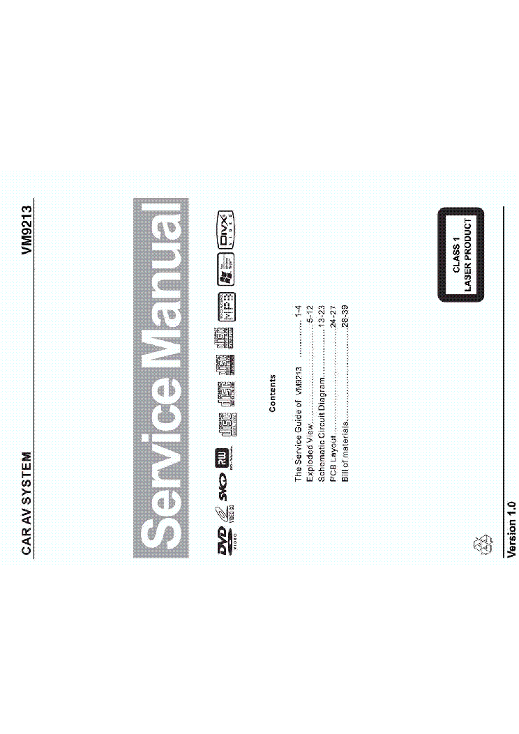 JENSEN VM9213 SM Service Manual download, schematics