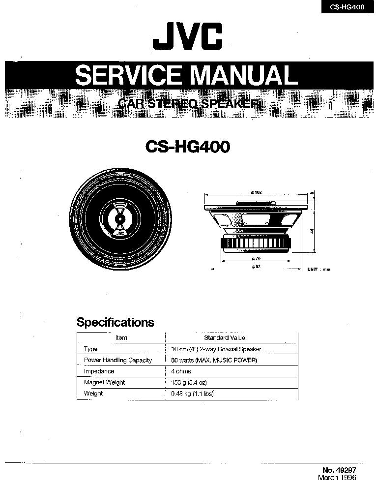 JVC CS-HG400 Service Manual download, schematics, eeprom