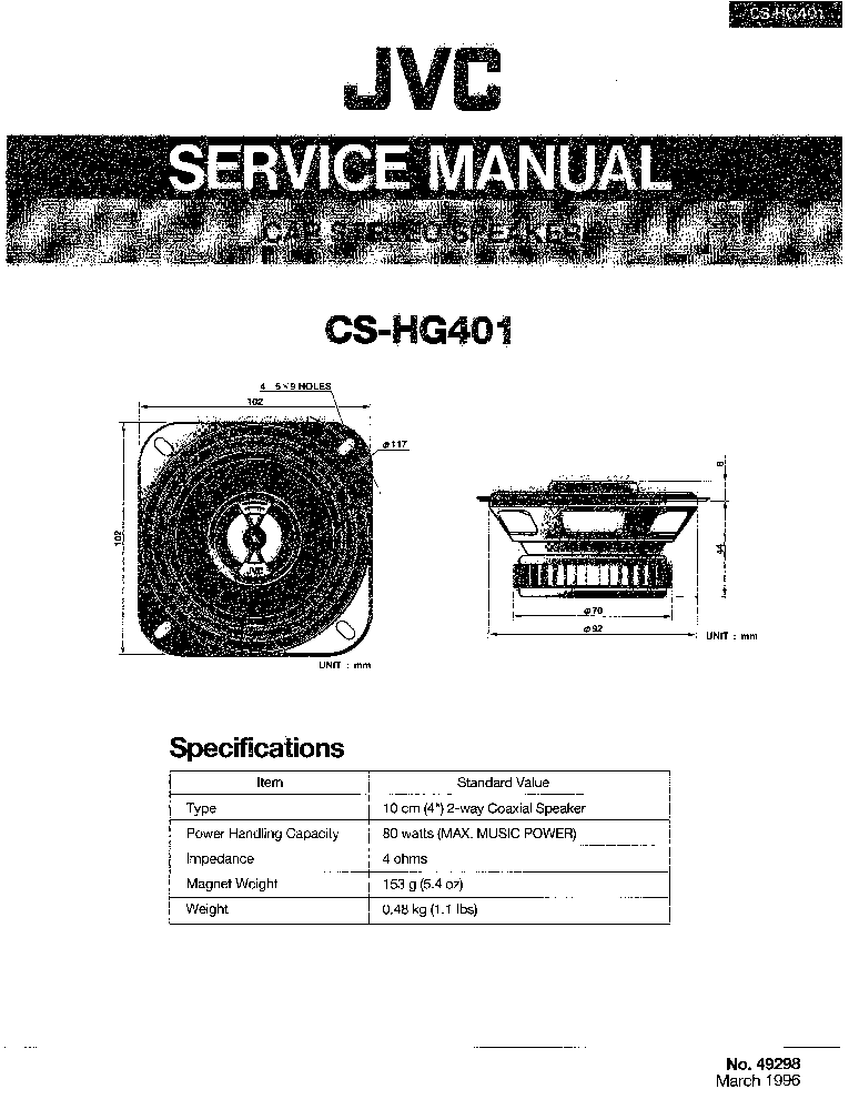 JVC KS-AX5500 SM Service Manual download, schematics