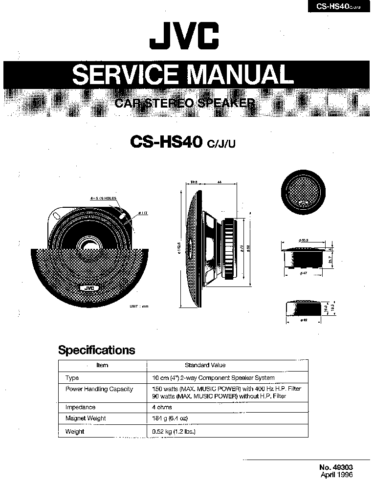 JVC CS-HS40 Service Manual free download, schematics