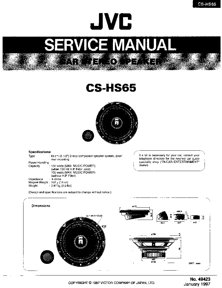 JVC CS-HS65 Service Manual download, schematics, eeprom