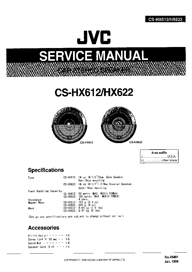 JVC KS-F330R KS-FX430R Service Manual download, schematics