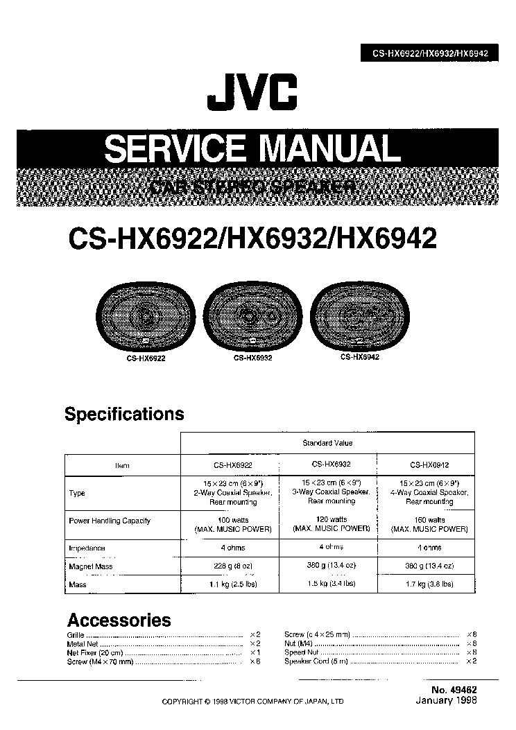JVC CS-HX6922 CS-HX6932 CS-HX6942 Service Manual download