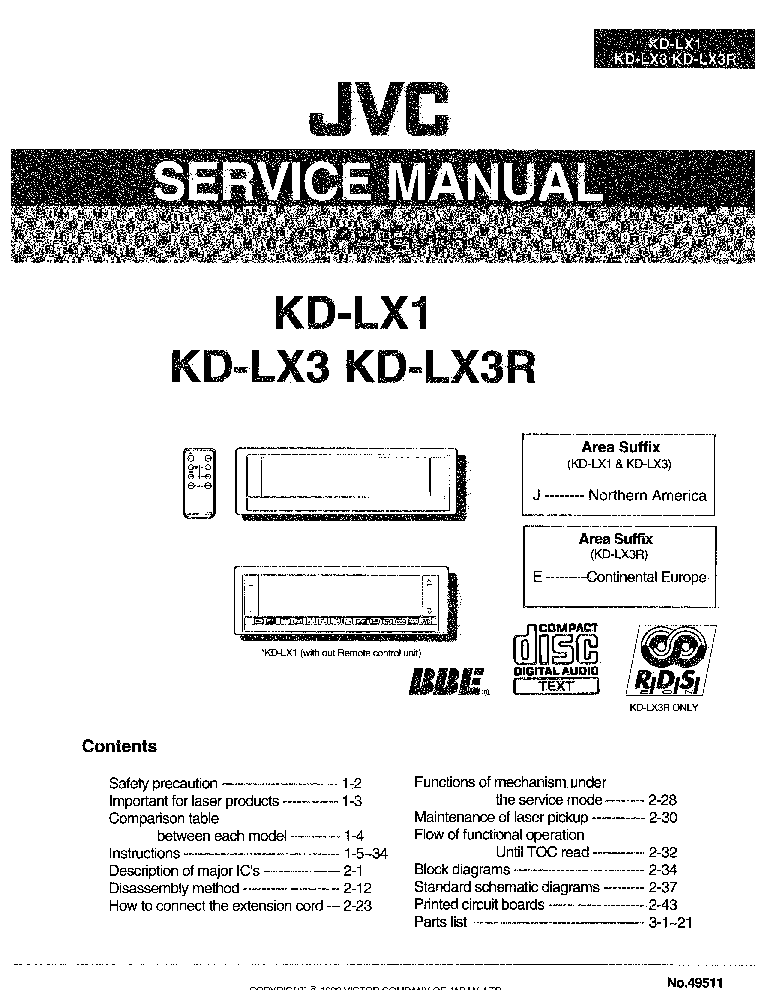 JVC KD-LX1 KD-LX3-49611- Service Manual download