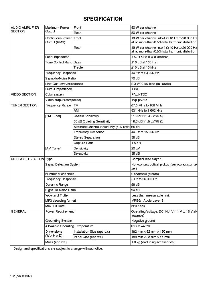 JVC KD-SV3000 SM 1 Service Manual download, schematics
