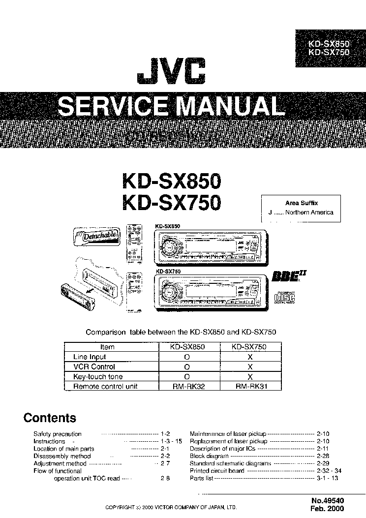 JVC KD-SX750 Service Manual download, schematics, eeprom