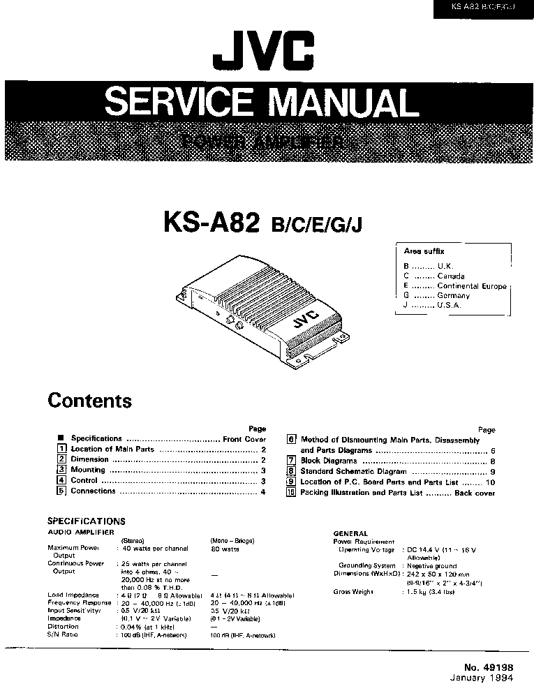 JVC KS-A82 Service Manual download, schematics, eeprom