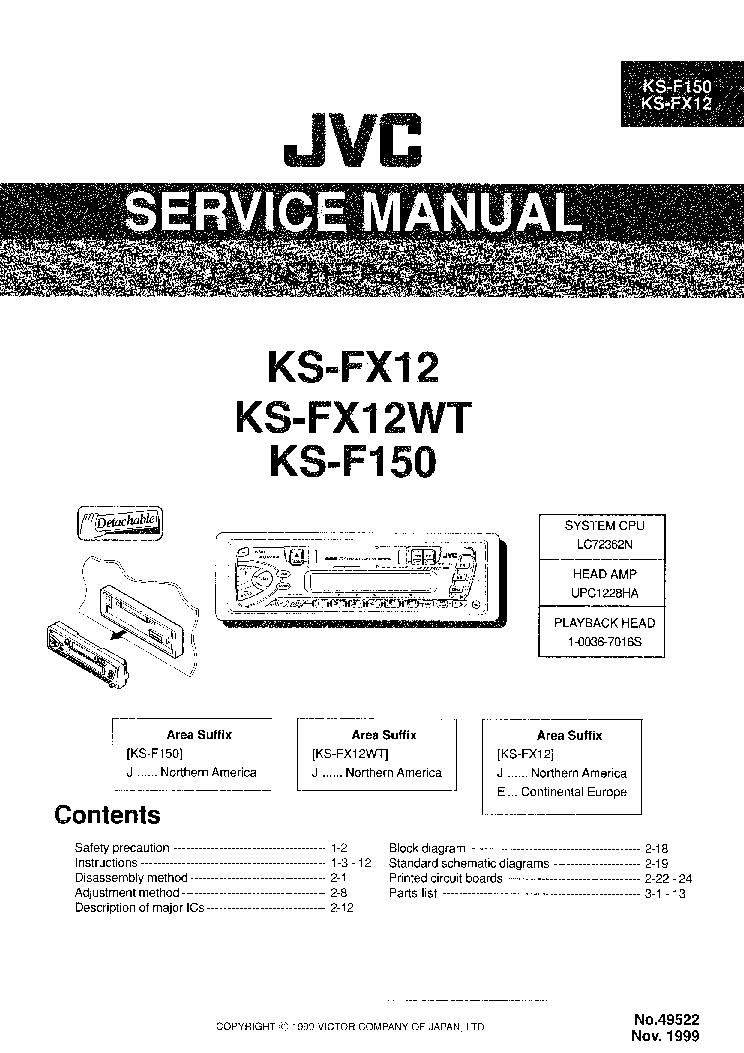 JVC KD-S611 Service Manual download, schematics, eeprom