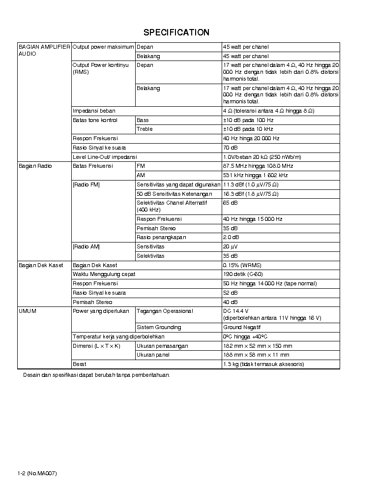 JVC KS-F171G MA007 CAR CASSETTE RECEIVER SM Service Manual