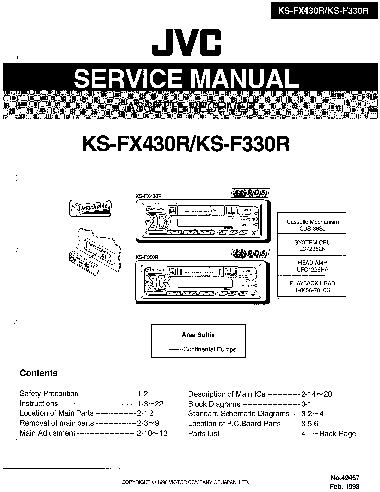 JVC KS-FX330R FX430R Service Manual download, schematics