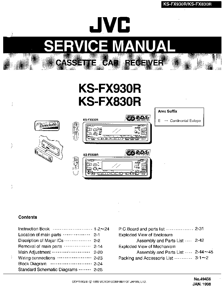 JVC KS-FX830R,KS-FX930R Service Manual download