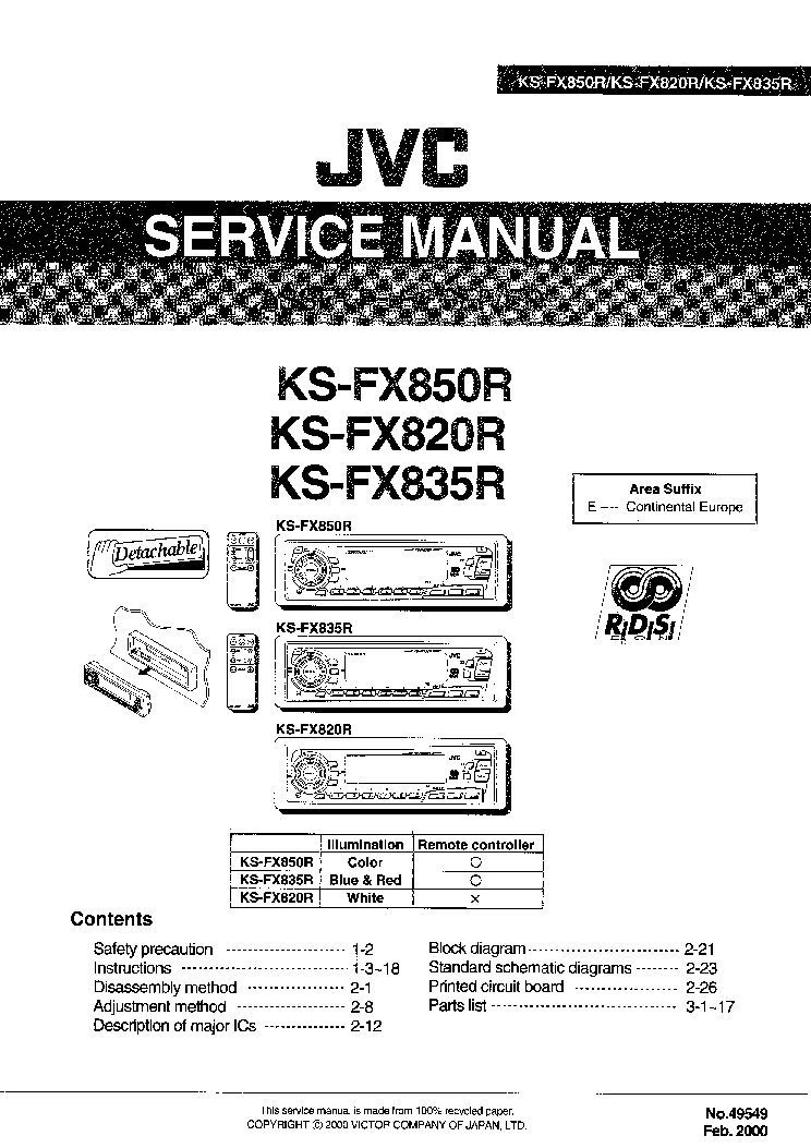 JVC KD-LX555R Service Manual download, schematics, eeprom