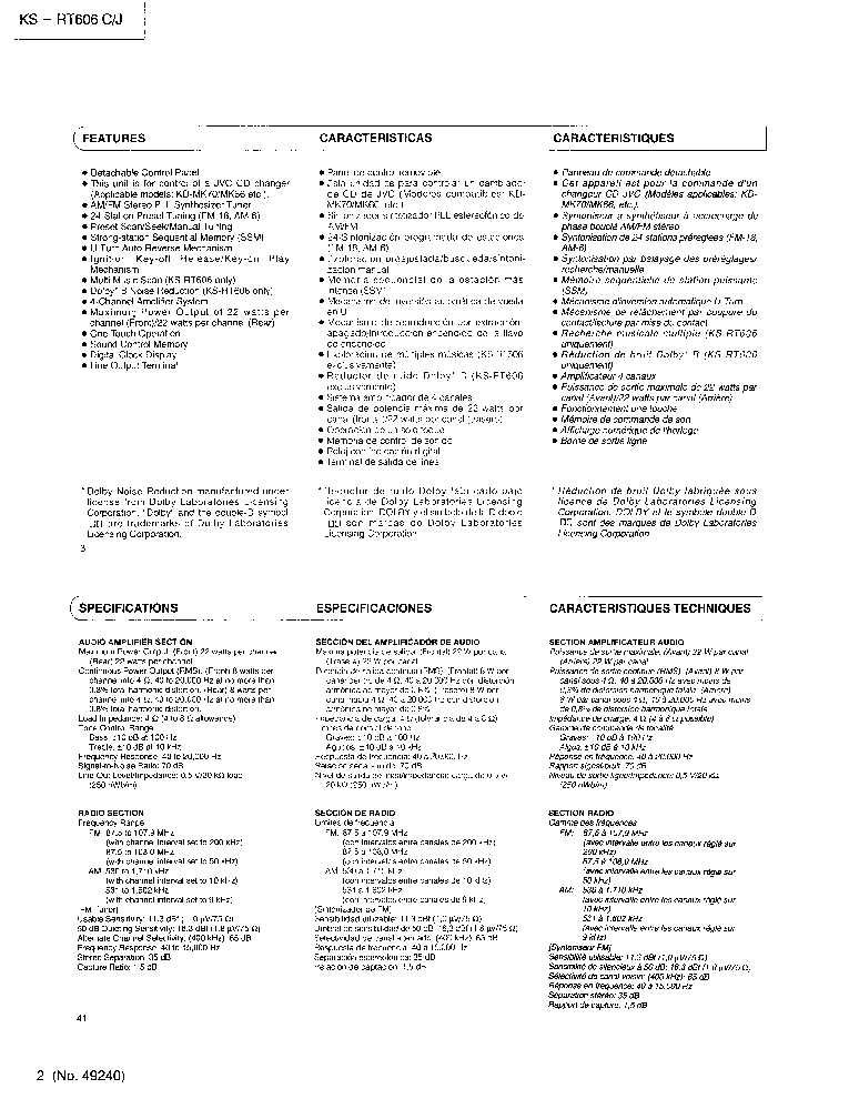 JVC KS-RT606 Service Manual download, schematics, eeprom