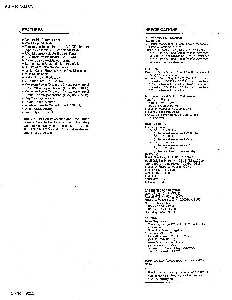 JVC KS-RT808 Service Manual download, schematics, eeprom