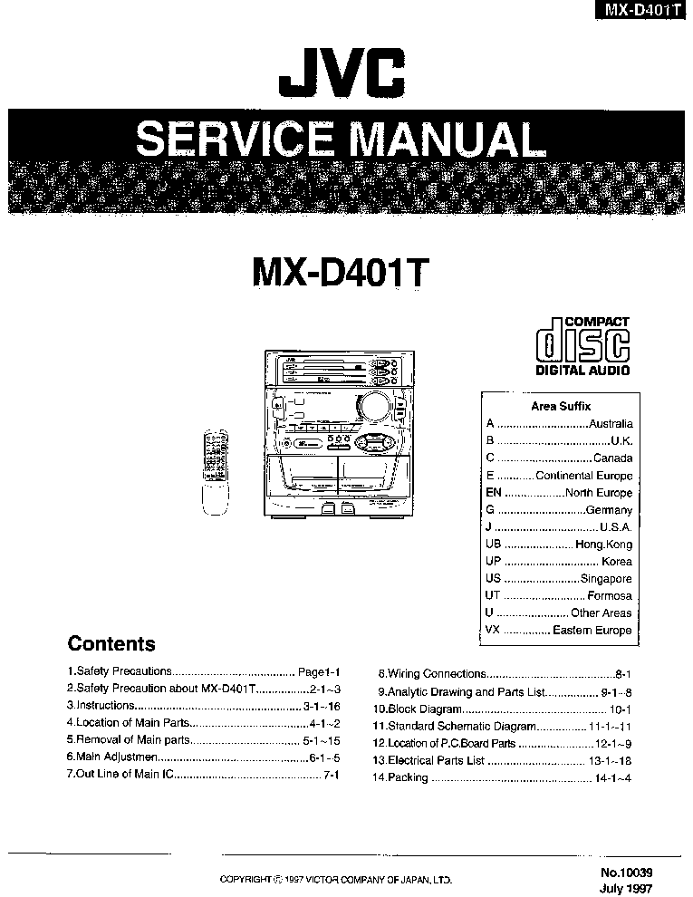 JVC MX-D401T COMPACT COMPONENT SYSTEM Service Manual