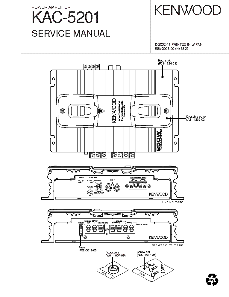 KENWOOD KAC-5201 Service Manual download, schematics